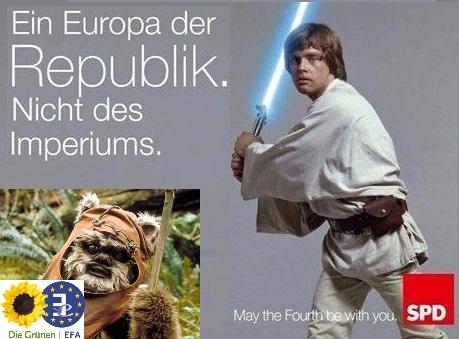 Meine rot-grün ergänzte Version eines SPD-Sharepics zum Star Wars Day
